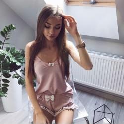 Koszulka na ramiączka pink/white