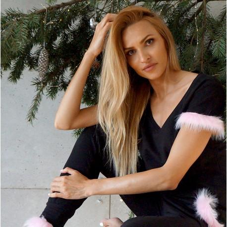 Tshirt black/pink fur