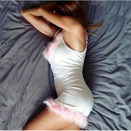 Koszulka nocna z futerkiem white/pink
