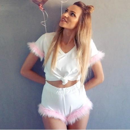 Szorty white/pink fur