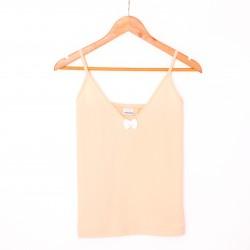 Koszulka nocna na ramiączkach peach/white