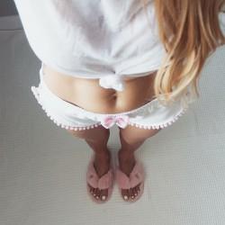 Szorty low waist white/pink