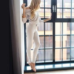 Spodnie beige/white