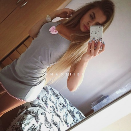 Koszulka nocna na ramiączka gray/pink